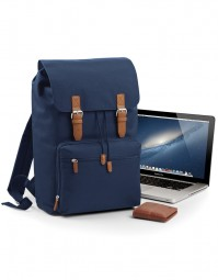 BG613 Vintage Laptop Backpack - Marineblauw/Bruin