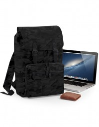 BG613 Vintage Laptop Backpack - Zwart/Zwart