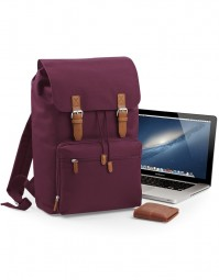 BG613 Vintage Laptop Backpack Midernacht Bourgogne rood/Bruin